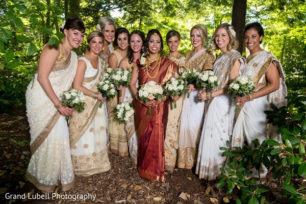 Lovely white and gold bridesmaids saris