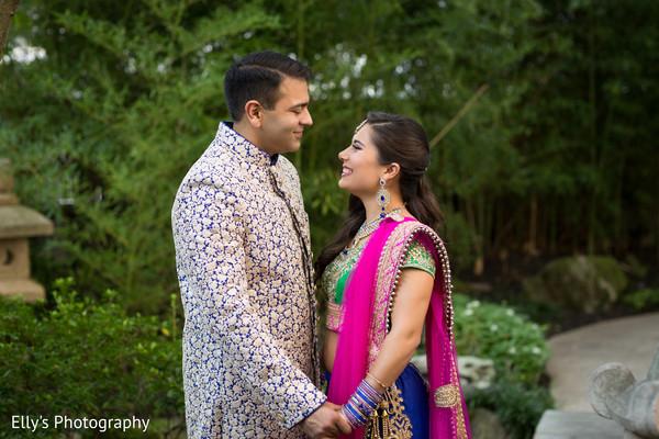 Indian couple's sangeet photo shoot.