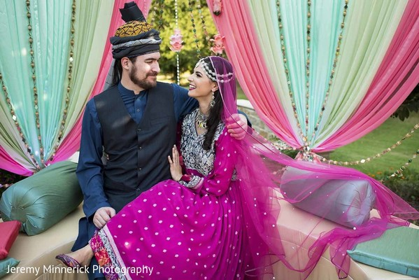 indian couple,fusion wedding,bridal lengha