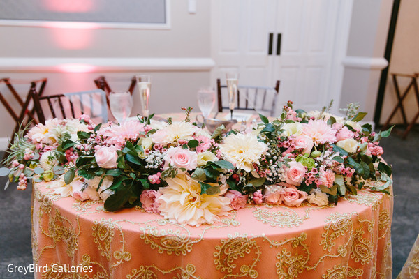 Indian couple's table at wedding reception