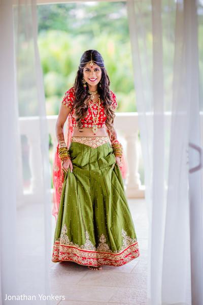 Ecstatic indian bride wedding look.