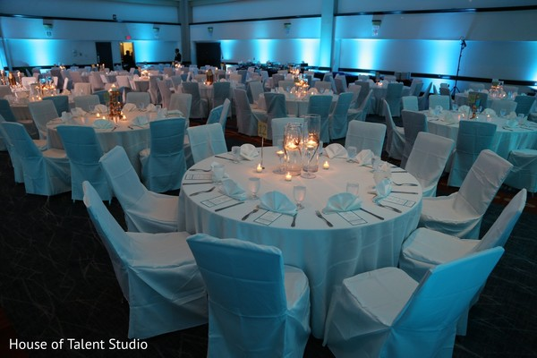 White and blue themed wedding reception.