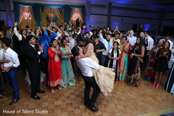 Guests cheering the newlyweds