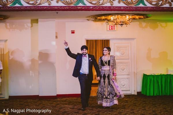 Bride and groom's big entrance.