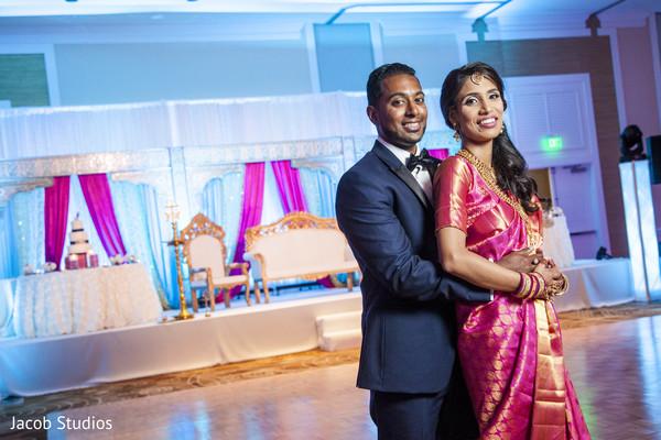 indian newlyweds,wedding reception,reception fashion