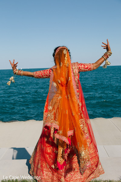 Indian bride outdoor photography after wedding ceremony
