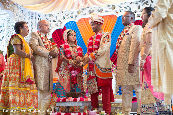 Lovely couple during their wedding ceremony