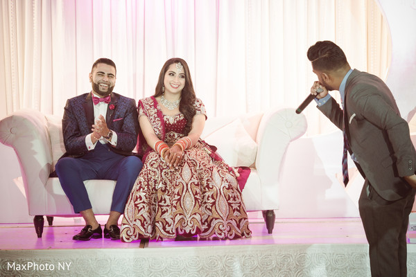 Indian couple's friend saying some words at wedding reception in Queens, NY Wedding by MaxPhoto NY