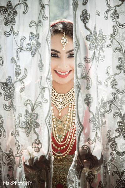 Beautiful indian bride portrait in Queens, NY Wedding by MaxPhoto NY
