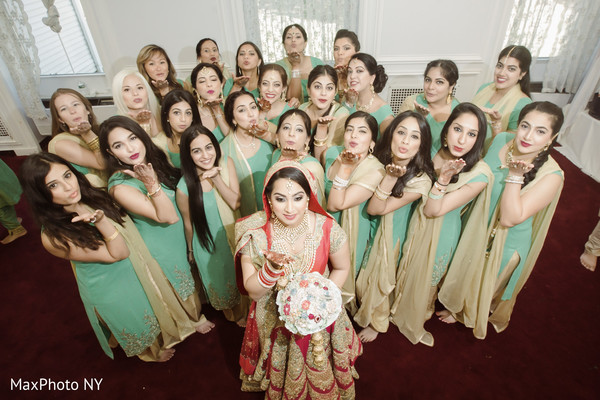 Indian bride and bridesmaids photography before wedding ceremony in Queens, NY Wedding by MaxPhoto NY