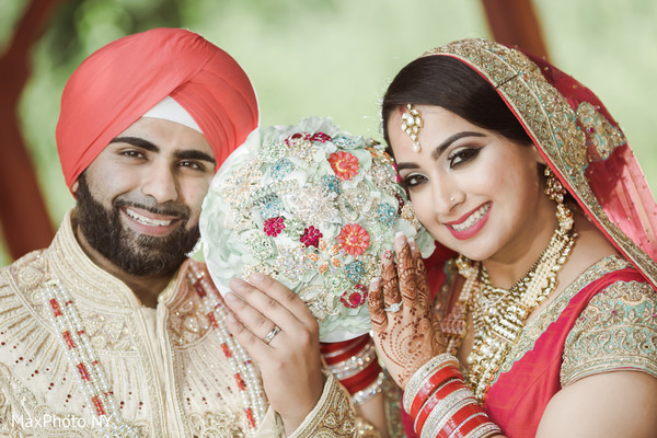 Indian couple smiling photography after wedding ceremony in Queens, NY Wedding by MaxPhoto NY