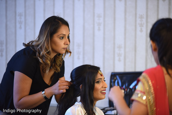 Indian bride hair and makeup session.