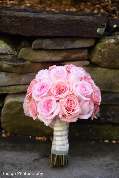 Pink roses bridal bouquet.