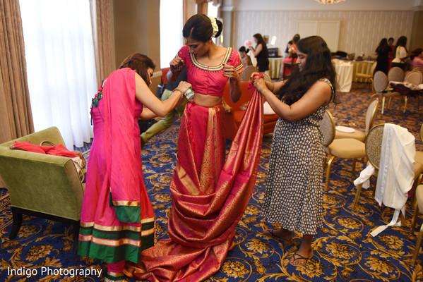 Indian bride sari draping.