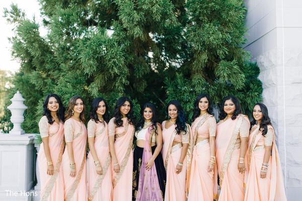 indian bridesmaids' fashion,indian bride reception fashion,outdoor photography