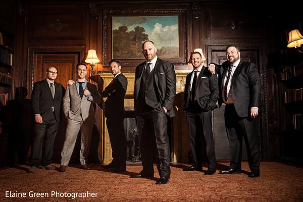 Elegant Indian groom and groomsmen.