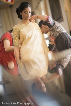 getting ready,draping,indian bridal fashion
