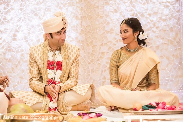 Indian couple's wed in a traditional ceremony.