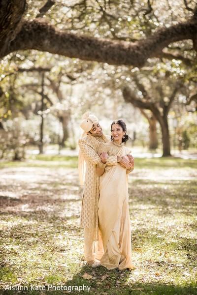 Outdoor wedding portrait.