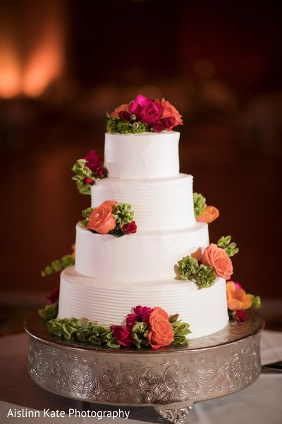 Beautiful white wedding cake.