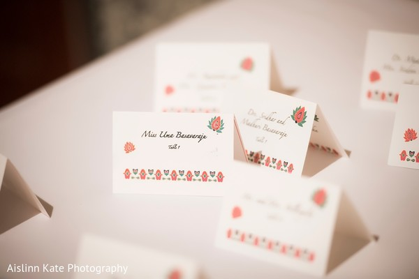 Indian wedding reception seating cards.
