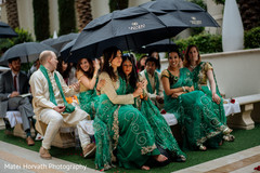 bridesmaids fashion,indian wedding,green sari