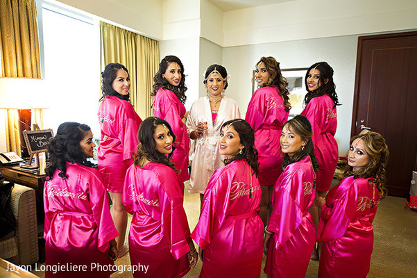 indian bridesmaids,getting ready,indian bride