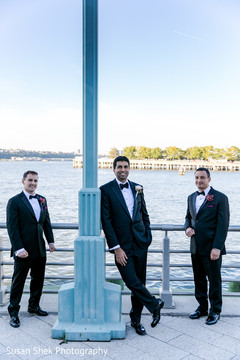 indian fusion wedding,groomsmen,indian groom,tux