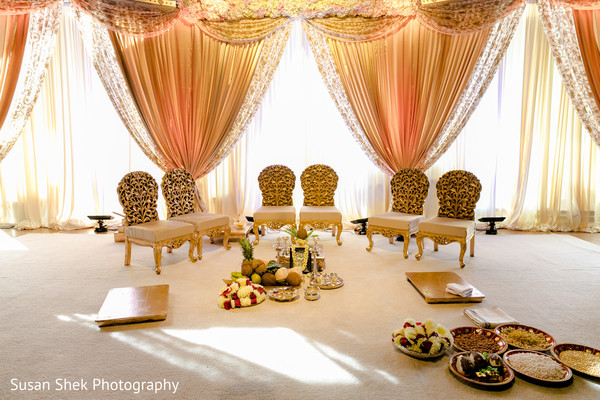 Indoors wedding mandap.