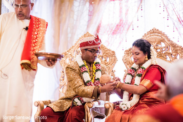 Indian couple and priest photography at wedding ceremony in Pittsburgh, PA Indian Wedding by Jorge Santiago Photography