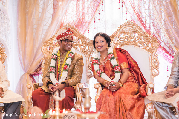 Indian couple having a great time at indian wedding ceremony in Pittsburgh, PA Indian Wedding by Jorge Santiago Photography