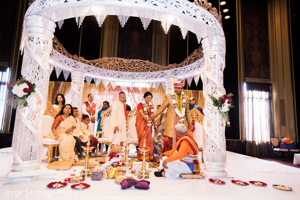 Saptapadi ritual in Pittsburgh, PA Indian Wedding by Jorge Santiago Photography