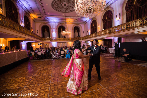 Gorgeous couple during their first dance in Pittsburgh, PA Indian Wedding by Jorge Santiago Photography