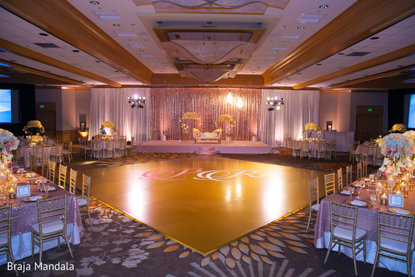indian wedding reception,floral and decor,stage,dance floor