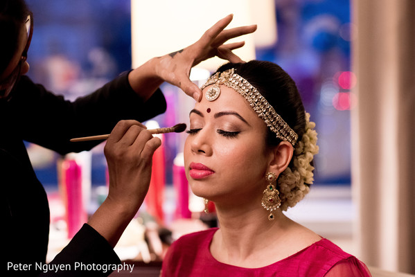 indian bride hair and makeup,indian bride getting ready,indian bridal makeup