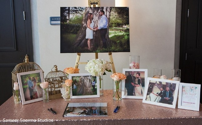indian wedding reception,guest book,floral and decor