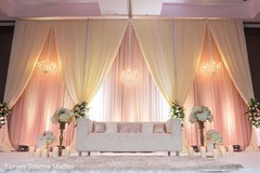 indian wedding reception,floral and decor,stage