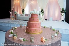 indian wedding reception,floral and decor,stage,wedding cake