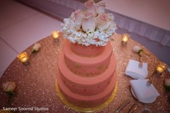 indian wedding reception,floral and decor,stage,wedding cake,cake topper