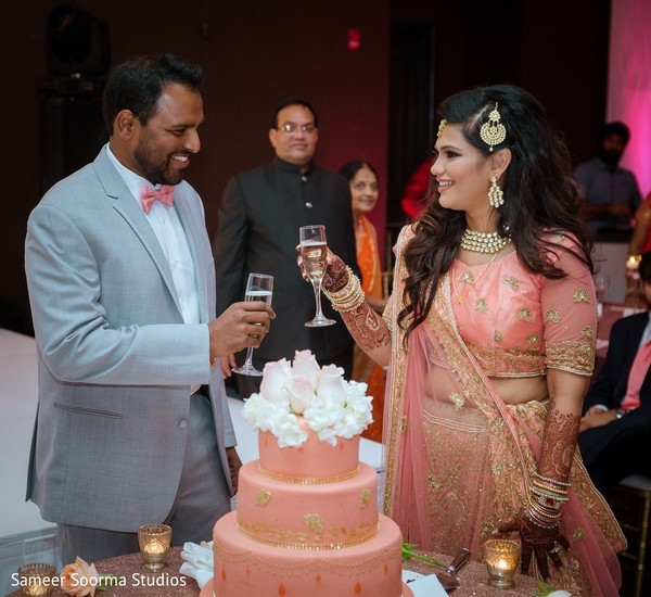 indian wedding reception,indian bride,indian groom,wedding cake