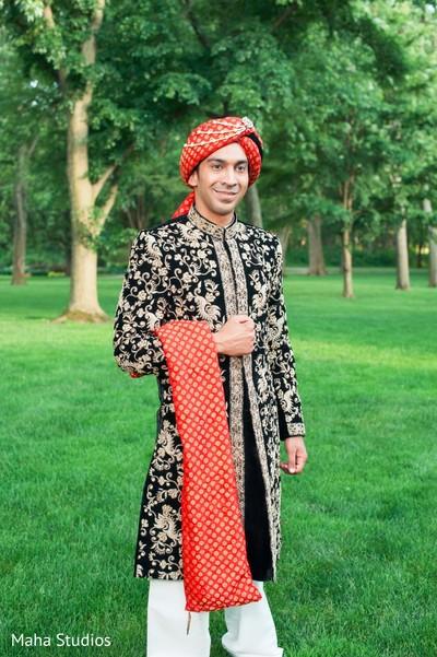 Indian groom outdoor photography before wedding ceremony