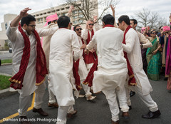 Indian groomsmen having a good time before wedding ceremony