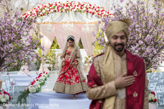 Indian couple about to see each other for the first time before wedding ceremony