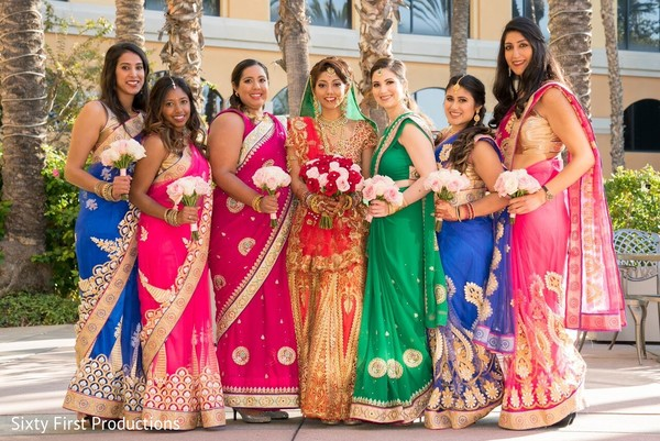 Colorful Indian bridal party. in CA Indian Wedding by SixtyFirstProductions