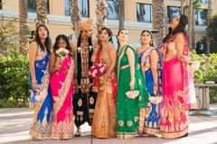indian bride,indian bridesmaids,indian groom