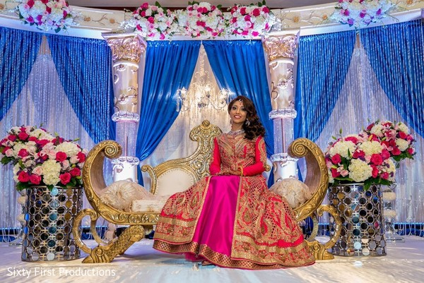 indian bride,indian wedding reception,wedding stage,floral and decor