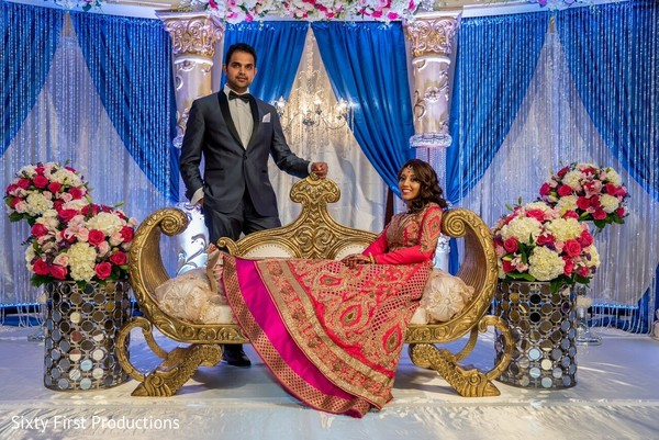 indian bride,indian groom,floral and decor,stage