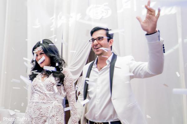 Unique reception bride and groom reception outfits.