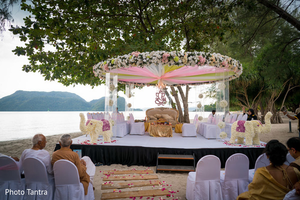 Majestic outdoor Indian wedding mandap.