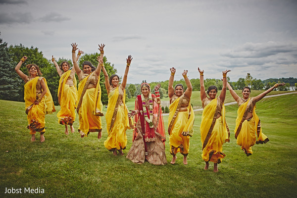 indian bridesmaids' fashion,indian bride ceremony fashion,indian wedding gallery